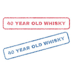 40 year old whisky textile stamps vector