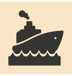 Flat in black and white mobile application ship vector