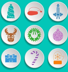 Set of new year and christmas icons flat design vector