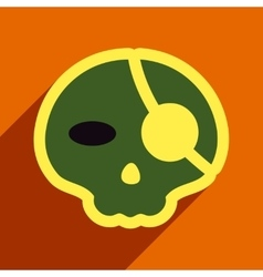 Flat with shadow icon pirate skull on a colored vector