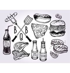 Barbecue food set line art vector
