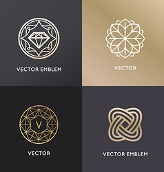 Logo design templates and badges in trendy linear vector