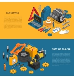 Car service tools isometric banner set vector