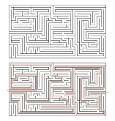 Rectangular maze of medium complexity on white and vector image