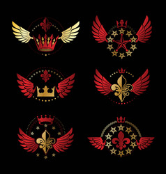 Ancient crowns and military stars emblems set vector