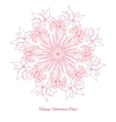 Background with ornamental round with pink irise vector image