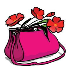 bag and flowers vector image vector image