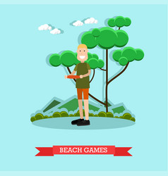 beach games in flat style vector image