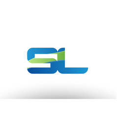 blue green sl s l alphabet letter logo vector image vector image