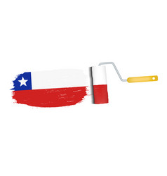 brush stroke with chile national flag isolated on vector image