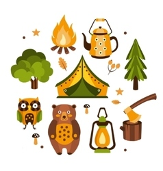Camping Associated Symbols vector image vector image