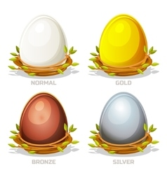 Cartoon funny colored eggs in birds nest of twigs vector