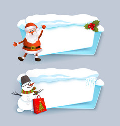 christmas banner templates with santa and snowman vector image