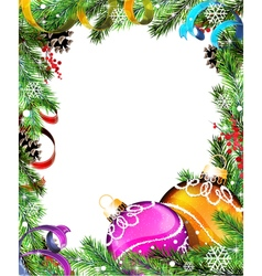 Christmas wreath with orange and purple baubles vector