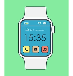 Colorful smart watch line art design with icons vector