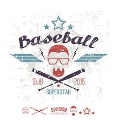 Emblem baseball superstar college team vector
