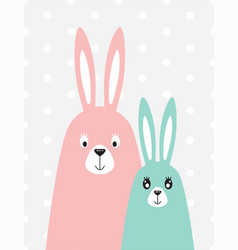family of rabbits in the scandinavian style vector image