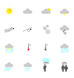 Flat weather icon set for design vector