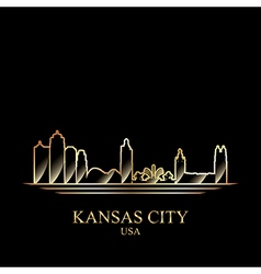 Gold silhouette of kansas city on black background vector