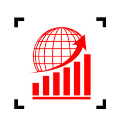 Growing graph with earth red icon inside vector
