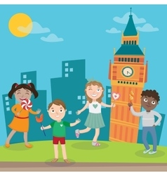 Happy children on vacation in london vector
