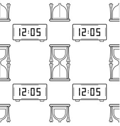 hourglass and electronic watch black and white vector image vector image