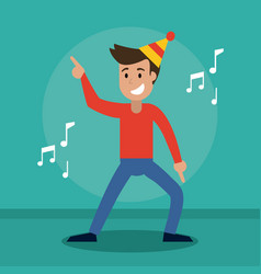 Man cheerful dance party vector