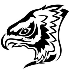 Menacing eagle black outline vector