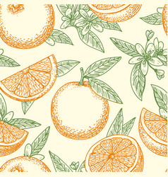 orange fruit and flowers pattern vector image