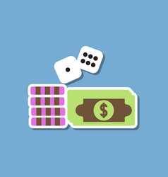 paper sticker on stylish background money dice vector image