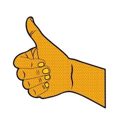 Pop art thumb up hand gesture icon image vector