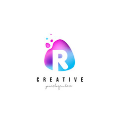 R letter dots logo design with oval shape vector