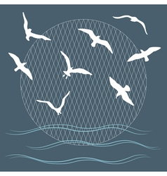 Seagulls over waves vector