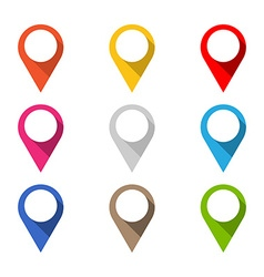Set of colored map pointers with long shadow vector image