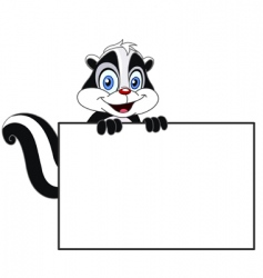 skunk with sign vector image vector image