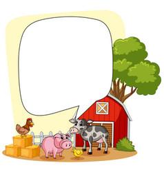 Speech bubble template with farm scene in vector