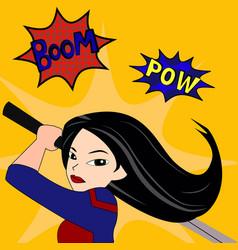 superhero woman cartoon vector image vector image