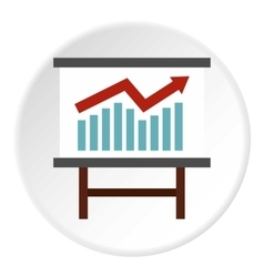 Table with statistics icon flat style vector
