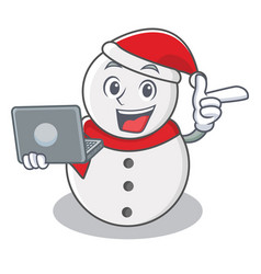 with laptop snowman character cartoon style vector image