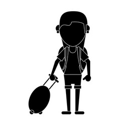 Young girl tourist with backpack and suitcase vector