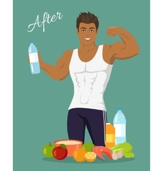 Sportive man after diet healthy balanced vector