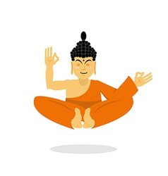 Buddha meditating isolated indian god on white vector