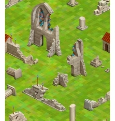 Medieval buildings on green grass isometric vector