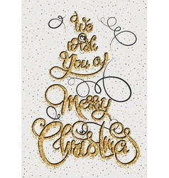 We wish you a merry christmas gold glittering vector