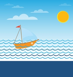 Fast boat under sails vector