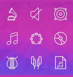 multimedia outlines set collection of soundtrack vector image