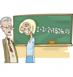 School girl with math problem vector