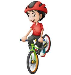 A boy riding his bike vector image