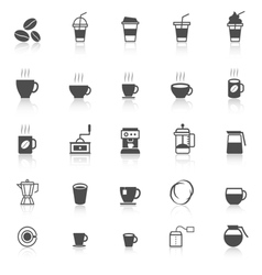 Coffee icons with reflect on white background vector