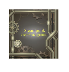 Background with gears steampunk vector